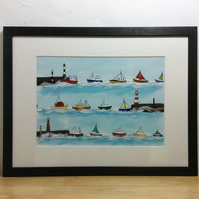 Heading home - A4 print of boats heading into the harbour