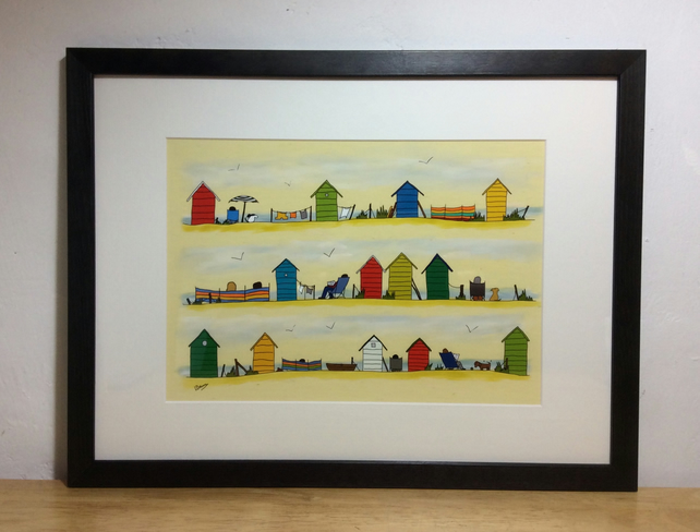 Beside the sea - A4 framed print of illustration of beach huts
