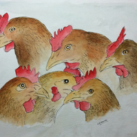 Chickens. Original watercolour. Farm animals. Pet. Painting