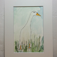 Runner duck - original watercolour painting