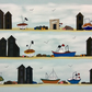 Fishing boats and huts - print from illustration of boats on the coast