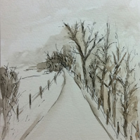 Lane in winter - original pen, ink and watercolour