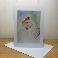 White chicken - blank greeting card or notelet
