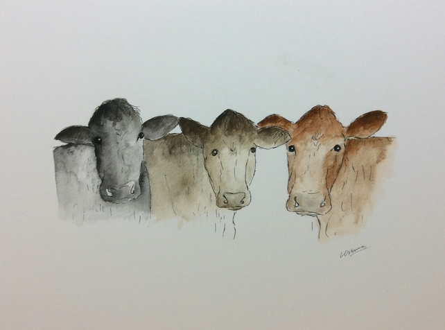 Three cows - waiting for lunch - signed print from illustration