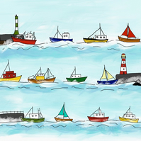 Heading home. Signed print. Boats. Fishing. Sailing. Harbour. Sea