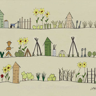 The Allotments - signed print from illustration