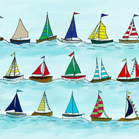The Regatta - signed print of sailing boats from digital illustration