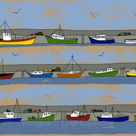 The Harbour - signed print of illustration with boats