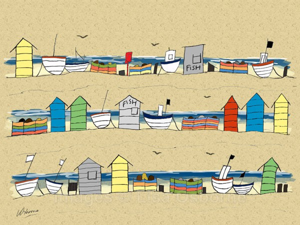 Beach Huts and Boats - signed print from illustration  of the coast