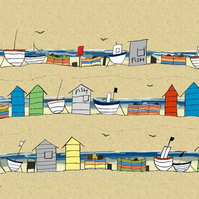 Beach Huts and Boats - signed print from illustration