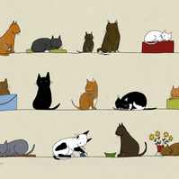 Cats - signed print of illustration of these popular pets