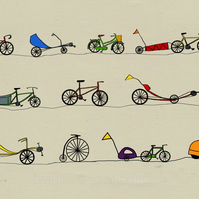 All sorts of cycles. Signed print of bicycles. Digital illustration. Bicycles