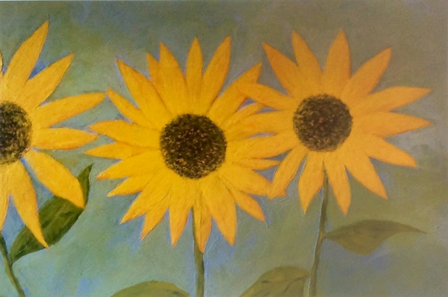 Sunflowers. Signed print. Flowers. Gardens.