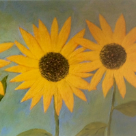 Sunflowers - signed print of these colourful flowers