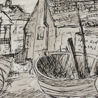 Fishing boat - signed print of a fishing boat on the coast