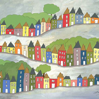 Hilly Streets - signed A4 print from illustrations of houses
