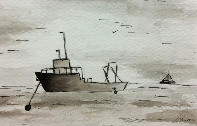 Waiting for the tide- original watercolour, pen and ink painting of fishing boat