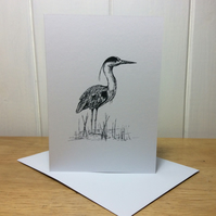 Card - blank inside for own message - heron