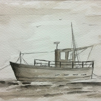 Low tide - fishing boat original pen and ink