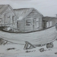 Fishing boat with huts - original pen, ink and watercolour