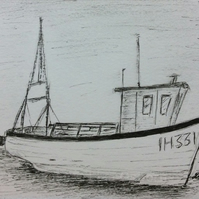 Fishing boat - at the harbour - pen and ink