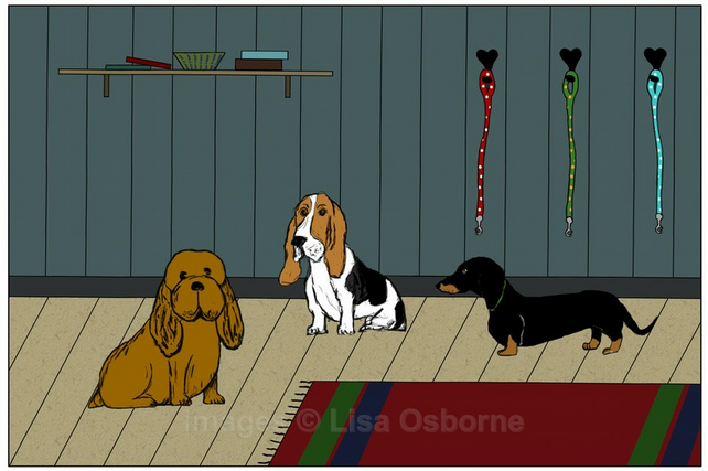 Waiting for walkies. Signed print. Digital illustration. Dogs. Pets