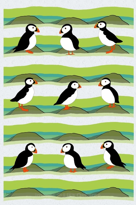 Puffins - signed print from illustration