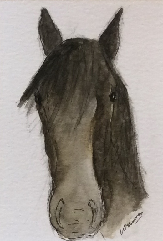 George. Draught horse. original pen, ink and watercolour. Minature ACEO