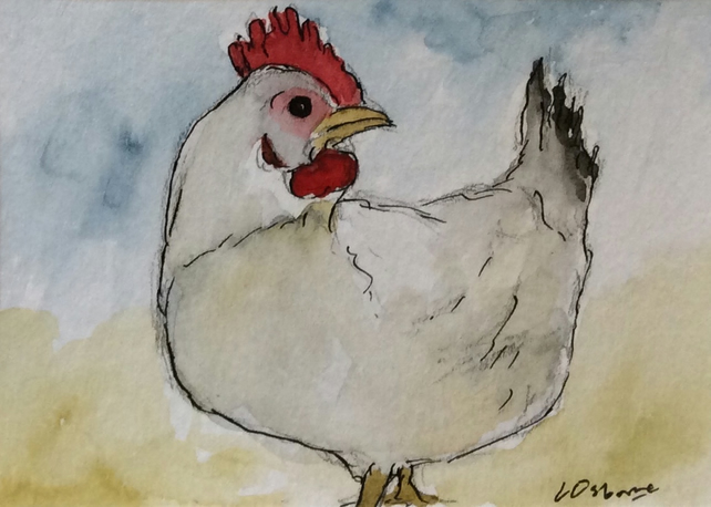 Where is dinner? - original pen, ink and watercolour of a chicken - ACEO