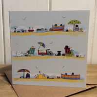 A day at the seaside. Greetings card. Blank inside. Coast. Beach. Holidays