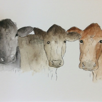 Waiting for dinner - print from watercolour of cows. Farm animals.