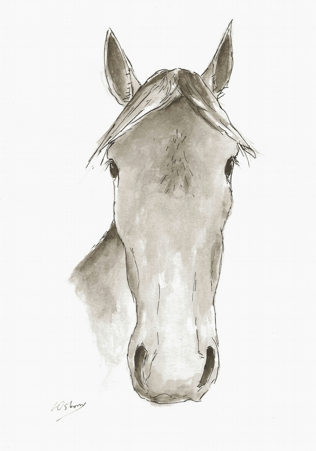 Faithful friend - Print of horse from watercolour, pen and ink.