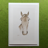 Faithful friend - greetings card. Blank inside. Horse
