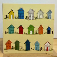 Beach huts. Greeting card. Blank inside. Digital illustration. Sea. Coast