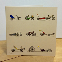 All sorts of cycles. Greetings card. Blank. Cycling. Bicycles