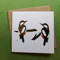 Woodpeckers. Greetings card. Blank inside. Birds. Wildlife