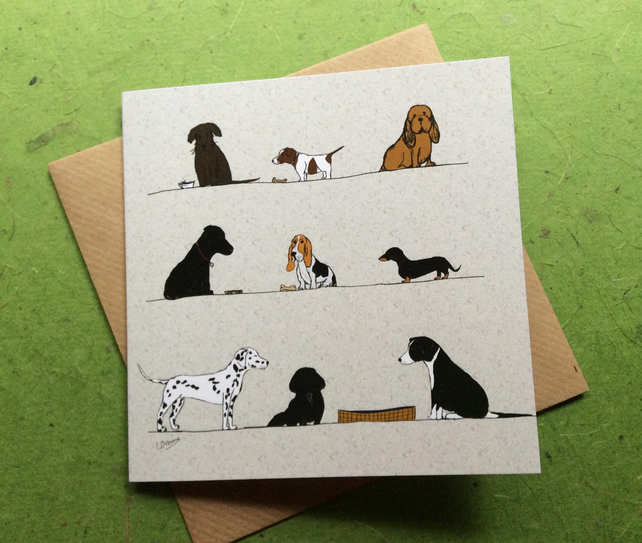 Dogs. Greetings card. Blank inside. Pets.