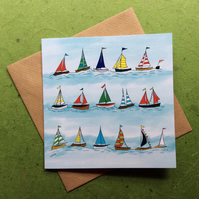 Regatta - blank greetings card from digital illustration. Boats. Coast.