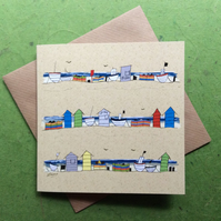 Beach huts and boats. Greetings card. Blank inside. Sea. Coast.