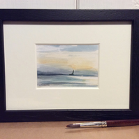 Sunset - minature watercolour painting of boat with sunset.