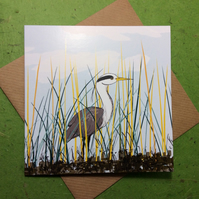 Greetings card - Heron in reeds - blank. Birds. Wildlife