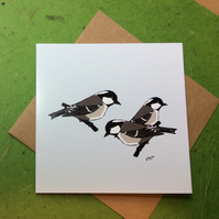 Card - Coal tits - greetings card