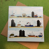 Greetings card - Fishing huts and boats - blank for own message