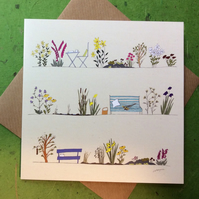 Greetings card - Country garden - blank for own message