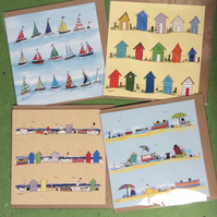 Pack of 4 coastal greetings cards - Seaside. Boats. Beach huts.