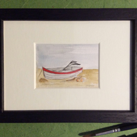Fishing boat II - original framed watercolour miniature of fishing boat