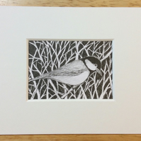 Great tit - pen and ink miniature