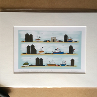 Fishing huts and boats - print from digital illustration with mount