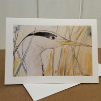 Heron's head - greetings card. Blank inside.