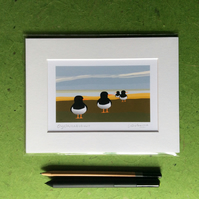 Oystercatchers - print from digital illustration. Coast. Birds.